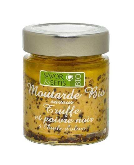 Moutarde Bio Saveur Truffe et Poivre Noir à l'Huile d'Olive