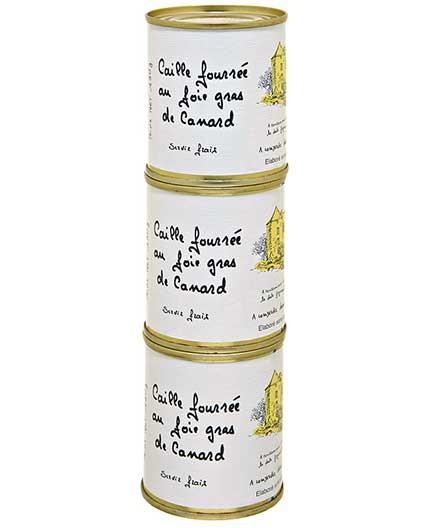 """Lot de 3 Boîtes de Caille Fourrée au Foie Gras de Canard """"30% Foie Gras de Canard"""" 130g"""
