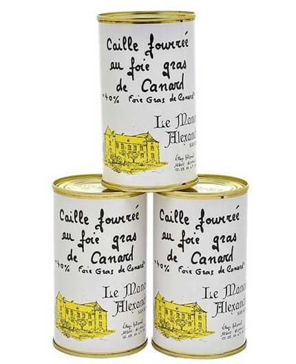 """Lot de 3 Boîtes de Caille Fourrée au Foie Gras de Canard """"40% Foie Gras de Canard"""" 190g"""