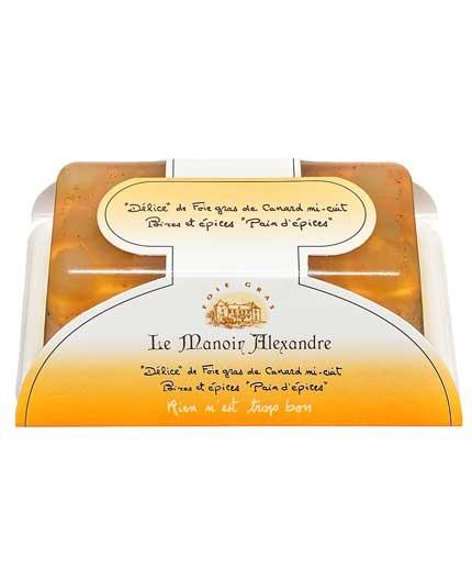 """«Délice» de foie gras de canard mi-cuit poires et épices «pain d'épices» """"cuit en terrine"""""""