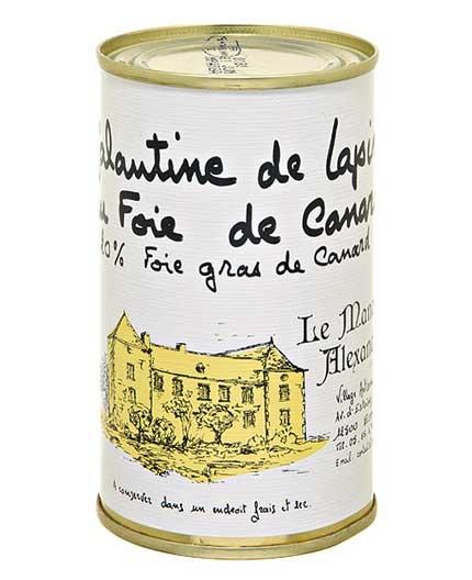 """Galantine de Lapin au Foie de Canard """"20% Foie Gras de Canard"""""""